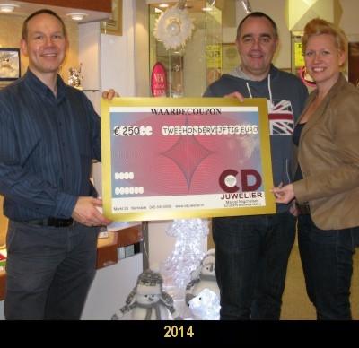 Ook in 2014 heeft CD Juwelier weer een tegoedbon verloot van €250