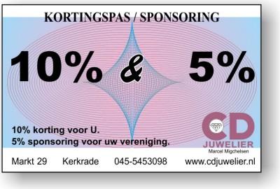 10% korting voor U en 5% sponsoring voor uw vereniging bij CD Juwelier