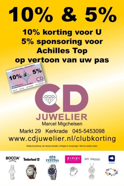Poster voor verenigingen die 5% sponsoring en 10% korting ontvangen van CD Juwelier