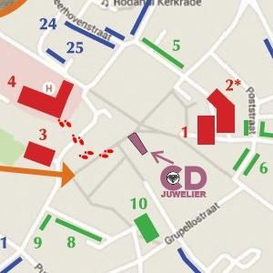 Plattegrond van Kerkrade-Centrum met parkeerplaatsen