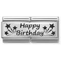 33071013 Nomination Dubbele Schakel Happy Birthday Zilver
