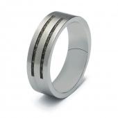 RS004 stalen ring met subtiel zichtbare as