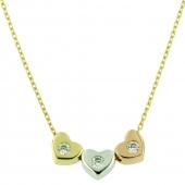 Collier 3 kleuren hartjes VI8 6505 Ambacht goud