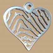 FPH001 vingerafdruk zilveren hart groot met collier Royolz