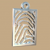 FPH002 vingerafdruk zilveren hanger rechthoek met collier Royolz