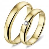 L440 gouden trouwringen Alliance met een briljant van 0.07 crt in klemzetting