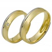 0801 Trouwringen bicolour goud met 1x0.02 crt briljant 5 mm