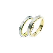 0809 Trouwringen bicolour goud met 8x0.01 crt briljant 4 mm