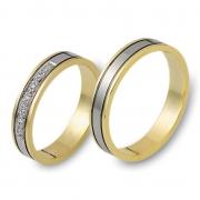 0907 Trouwringen bicolour goud met 7x0.01 crt briljant 4 mm
