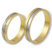 0909 Trouwringen bicolour goud met 1x0.005 crt briljant 4 mm