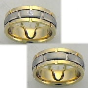 0910 Trouwringen bicolour goud met 1x0.05 crt briljant 7 mm