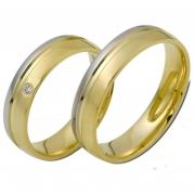 0911 Trouwringen bicolour goud met 1x0.02 crt briljant 5 mm