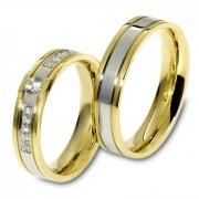 1102 Trouwringen bicolour goud met 10x0.015+1x0.15 crt briljant 5 mm