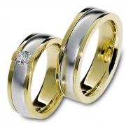 1107 Trouwringen bicolour goud met 1x0.25 crt briljant 6.5 mm