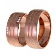 1402 Trouwringen rosé goud met 6x0.01 crt briljant 7.5 mm