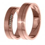 1404 Trouwringen rosé goud met 7x0.005 crt briljant 5 mm