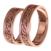 1405 Trouwringen rosé goud 6 mm