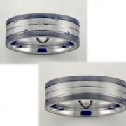 1506 Trouwringen titanium met witgoud met 5x0.01 crt briljant 7 mm