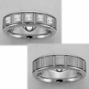 1512 Trouwringen titanium met witgoud met 5xprincess crt briljant 6.5 mm