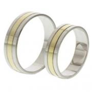 56.00247 Amorio relatieringen goud met zilver