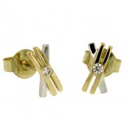 Oorknoppen X-model goud met zirconia 258019511