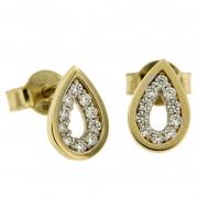 Oorknoppen druppelvorm bicolour goud met zirconia 218019514