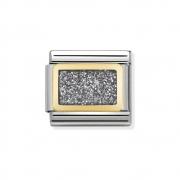 03028038 Elegance Silver Glitter Nomination schakel emaille met goud