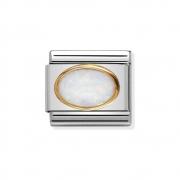 03050207 witte opaal ovaal Nomination schakel kleursteen met staal en goud