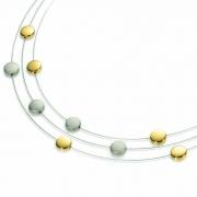 0852-02 collier 3 draden titanium met verguld