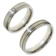 Titanium 10005 eenvoudige trouwringen met diamant