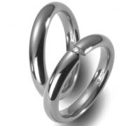 50784 glanzend titanium trouwringen met 0.05 crt. briljant