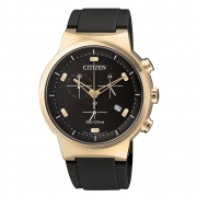 AT2403-15E rosé verguld herenhorloge chrono met rubberen band Citizen