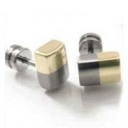 0509-03 bicolour verguld titanium oorknoppen