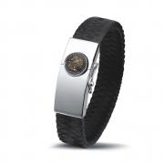 BG007 stoere leren armband met zilveren slot met zichtbare as