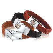 BG008F leren armband met vingerafdruk of hars