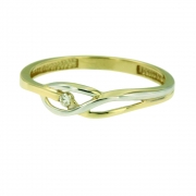 Damesring met 0.025 crt. briljant VIK 3086 Ambacht goud