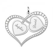 ZFH04 zilveren naamhanger twee harten