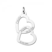 ZFH07 zilveren naamhanger twee harten