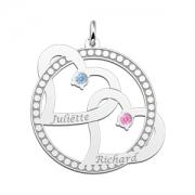 ZFH21-GS zilveren naamhanger twee harten met maandstenen