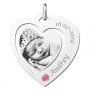ZHEF035-GS zilveren naamhanger hart met foto