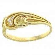 .3.0 gram 18 krt. gouden ring schulpjes met zirconia