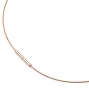 0802-03 rosé verguld collier titanium met staal Boccia 40-42-45-50 cm