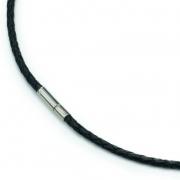 0835-01 collier gevlochten leer met titanium slot Boccia 45-50 cm
