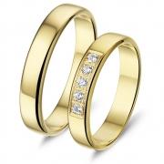L140 basic gouden trouwringen Alliance met 0.15 crt. briljant