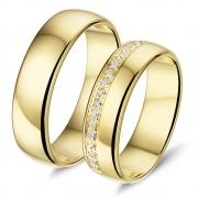L560 brede gouden trouwringen met strak gezet 0.17 crt. briljant