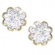 Oorknoppen LA005 bloem goud met zirconia Hartenwens