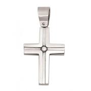 h 50178 stalen kruisje met zirconia
