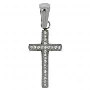 h 52614 stalen kruis met zirconia met collier