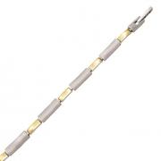 s 60338 19+45 cm bicolour stalen armband en collier