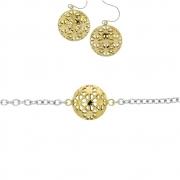s 63182 95 cm bicolour set lang collier met oorhangers